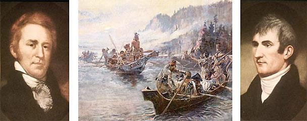 William Clark à gauche - L'expédition (1804-1806) - à droite, Meriwether Lewis