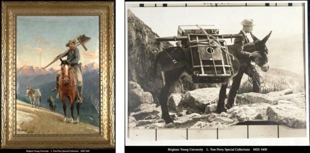 W.H. Jackson, son assistant avec le matériel transporté à dos de mule 1873
