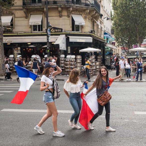 Juste après la victoire.  La France championne du monde de Football - Paris Juillet 2018