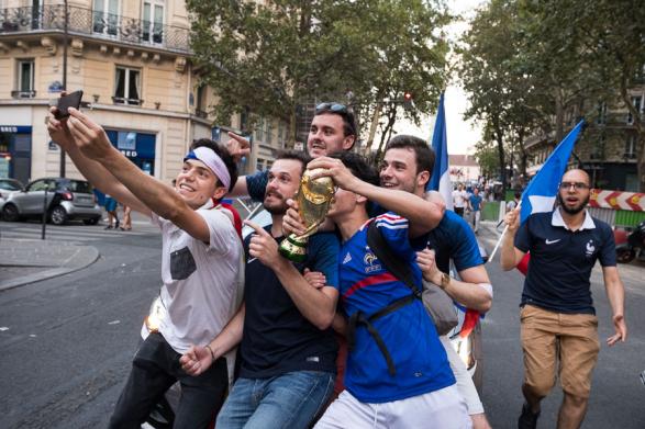 Selfie de groupe après la victoire de l'équipe de France. La France championne du monde de Football - Paris Juillet 2018