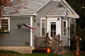 Maison, drapeau et citrouille, Maine, USA