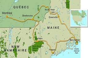Carte du voyage au Québec, dans le New-Hampshire et dans le Maine, Octobre 2010