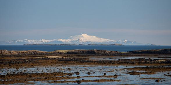 Le Snæfellsjökull, vu de la route 60, Fjords de l'Ouest, islande