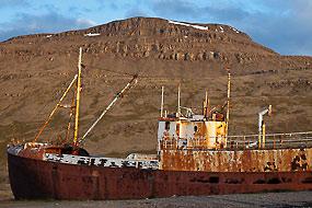 Bateau échoué, le long de la route 612, Islande