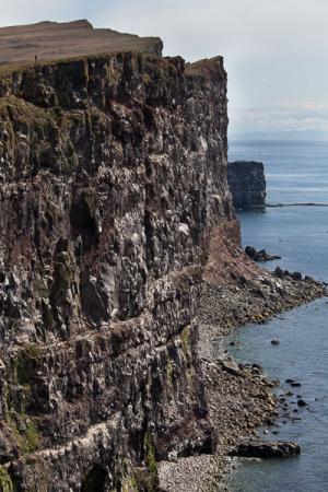 Une silhouette en haut des falaises de Latrabjarg, Islande