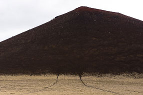 Volcan avec résidus de lave oxydée rouge, Gerduberg, Péninsule de Snæfellsnes, Islande