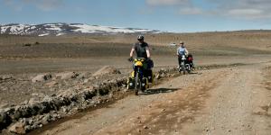Cyclistes sur la F35, islande