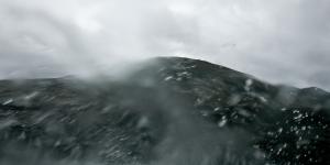 Traversée un peu rapide d'une grosse flaque, le parebrise se recouvre d'eau ! Islande