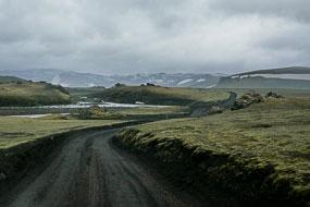 La piste F225 est étroite et sablonneuse, Islande