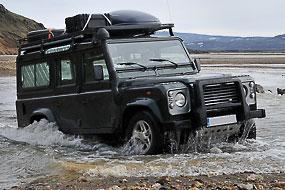 Traversée du gué du camping à Landmannalaugar, Islande