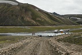 Passage de gué sur la F208, Islande