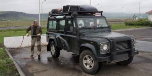 Nettoyage du Defender, Islande