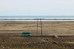 Autocar sur la route N°1, à proximité du Jokulsarlon, Islande