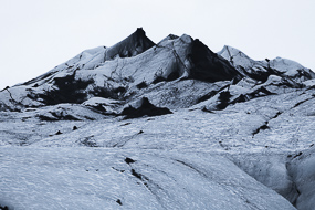 La glace du Solheimajokull, Islande