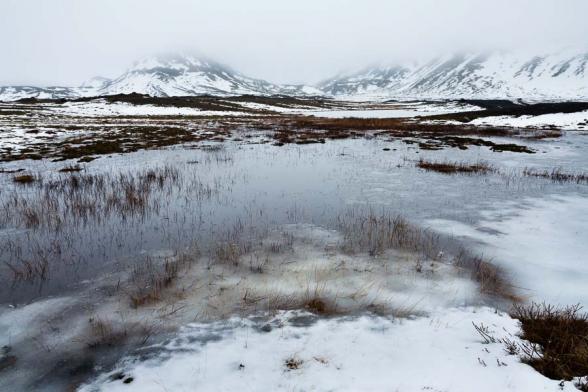 Paysage gelé à proximité du Solheimajokull, Sud de l'Islande
