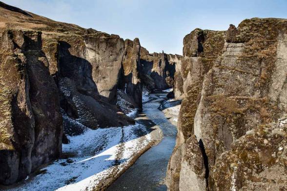 Le canyon de Fjadragljufur, 100m de pronfondeur, 2kms de long est principalement formé de palagonite, roche volcanique datant de la période glaciaire, sud de l'islande
