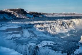 La cascade de Gullfoss sous la neige, Islande