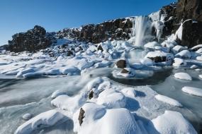 La cascade d'Oxararfoss en hiver, dans le cercle d'Or