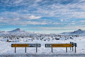 Route 54 qui longe des champs de lave dans la péninsule de Snæfellsnes