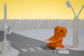 La ville en chantier, Des dominos servent de passage clouté