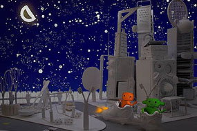La ville en chantier, La nuit venue, Orange et Verte circulent dans la ville
