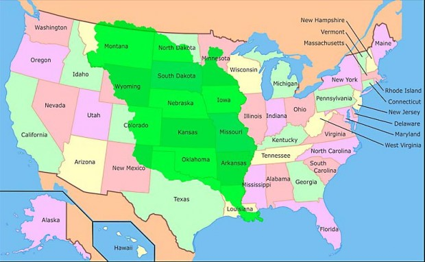 la Louisiane, en vert sur la carte, les territoires cédés lors de sa vente par Napoléon en 1803
