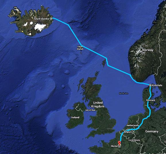 Carte du trajet de retour, voyage Islande été 2011