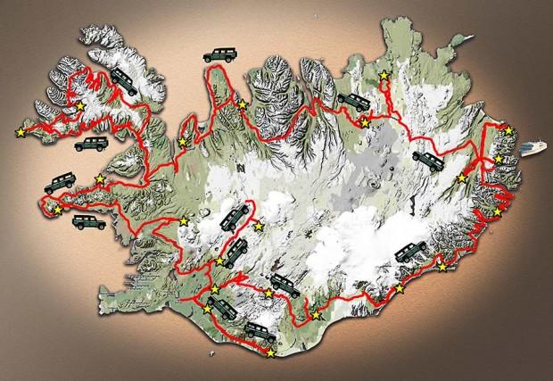 Carte du voyage Islande - 2011