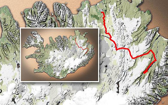 Carte du voyage Islande - 17/06/2011