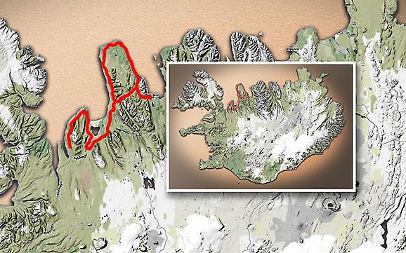 Carte du voyage Islande - 22/06/2011