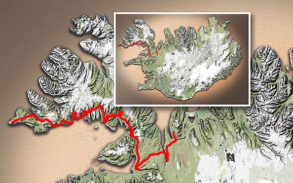 Carte du voyage Islande - 23/06/2011