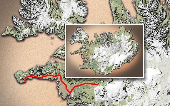 Carte du voyage Islande - 27/06/2011