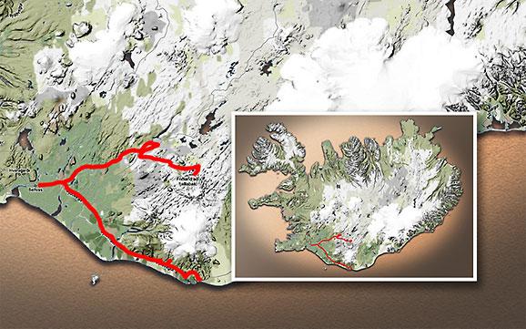 Carte du voyage Islande - 04/07/2011