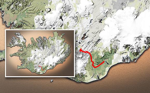 Carte du voyage Islande - 06/07/2011