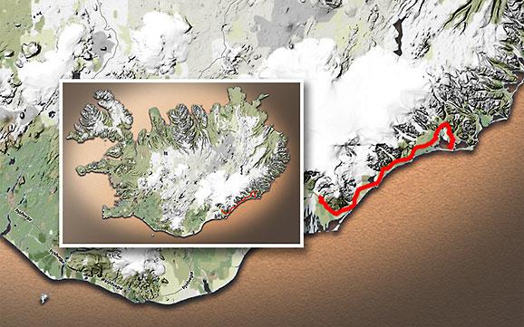 Carte du voyage Islande - 10/07/2011