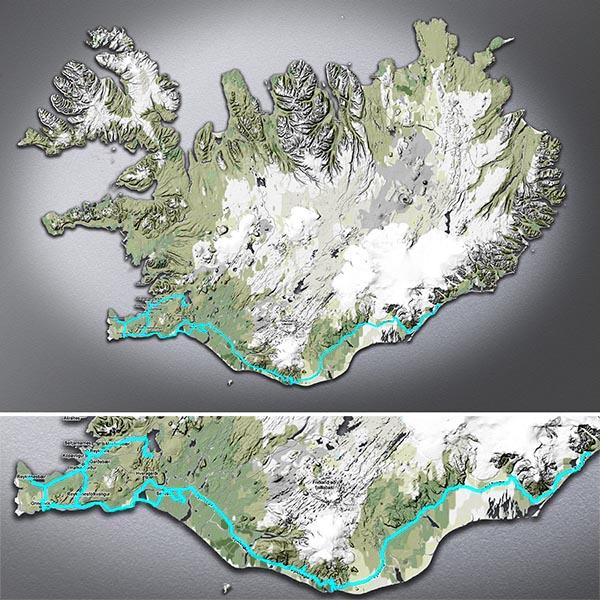 Carte du parcours en Islande en 2013