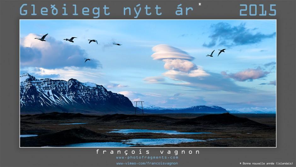 Envol de cygnes et nuages lenticulaires, Islande