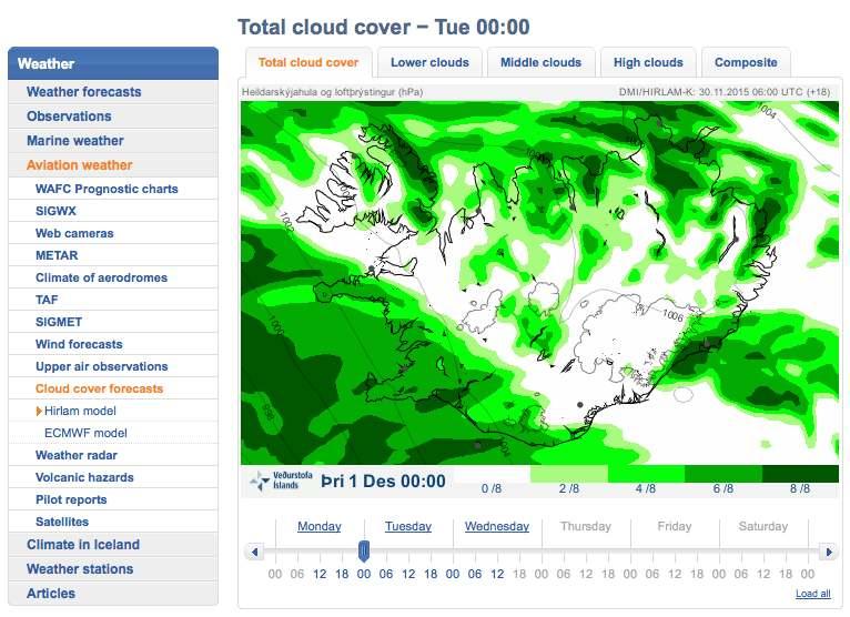 Prévisions de la couverture nuageuse pour l'Islande, selon le modèle météorologique Hirlam. Plus précis que les autres modèles, il ne donnent que des prévisions à court terme, mais tient compte des reliefs.