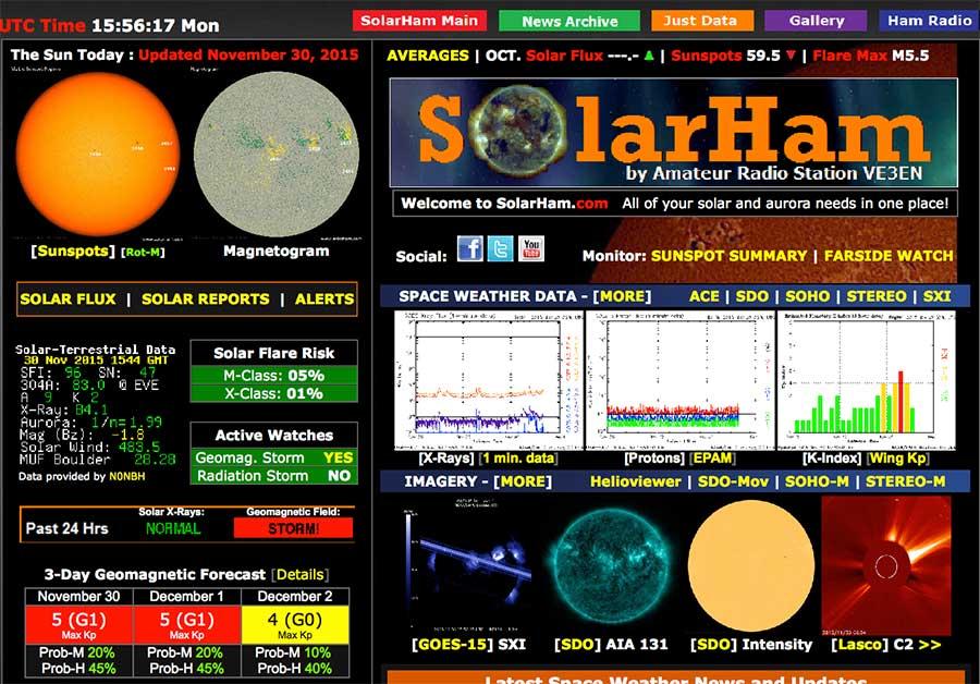 Indications de l'activité solaire, indice Kp de prévision de visibilité d'aurores boréales, le site solarham.net est riche en informations, pas facile à interpréter pour le néophyte.