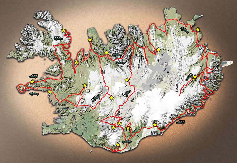 Carte du parcours en Islande, été 2014 | Map of Iceland travel, summer 2014