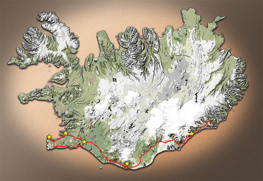 Carte du parcours en Islande, mars 2014 | Map of Iceland travel, march 2014