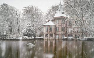 Il neige sur l'île Fanac et son école de musique, en partie inondée par la crue de la Marne, en ce mois de Février 2018. Un cygne passe...