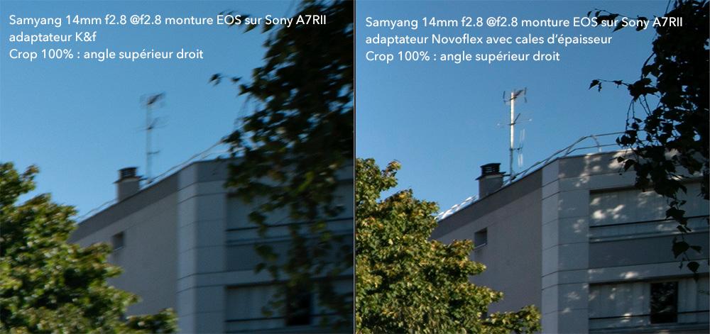 Crop angle droit Samyang 14mm sur Sony A7RII avec adaptateurs