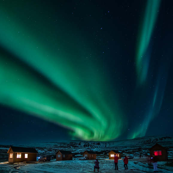 Aurore boréale au dessus de Hvammanstangi, au nord de l'Islande