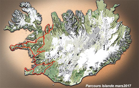 Carte du parcours de mars 2017 en Islande