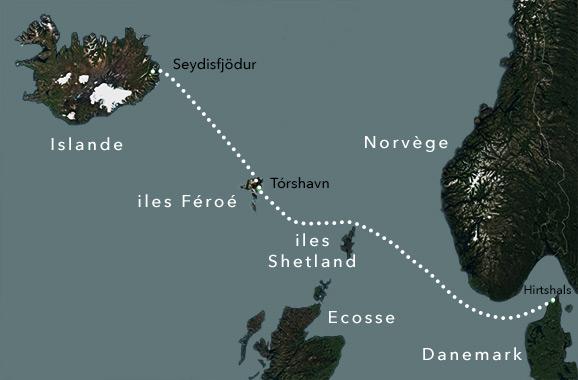 Carte du trajet du Norröna, du Danemark à l'Islande