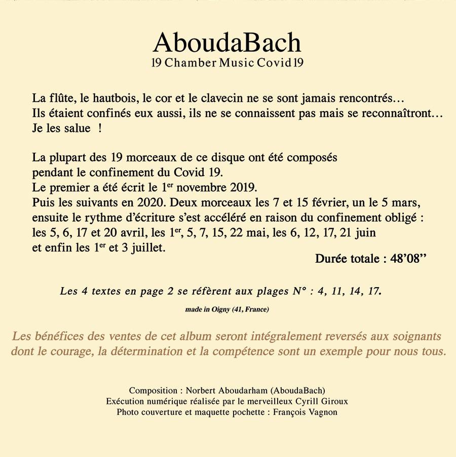 4ème couverture du CD AboudBach de Norbert Aboudarham